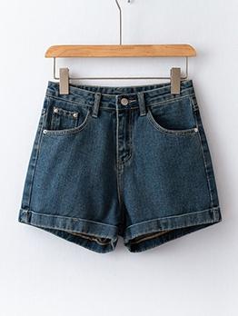 Simple Design Solid Color Summer Denim Shorts