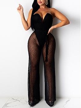 Sexy Polka Dot Strapless Wide Leg Jumpsuit