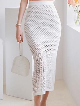 Mesh Patchwork Solid Women Maxi Skirt