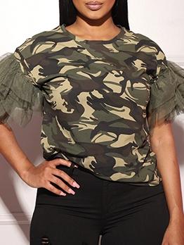 Gauze Patchwork Camouflage Print Ladies T Shirts
