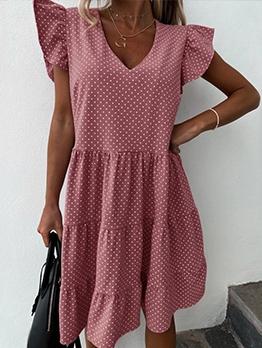 V Neck Polka Dot Short Sleeve Dress