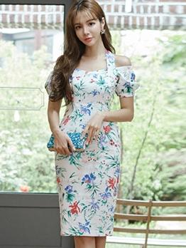 Halter Flower Printed Short Sleeve Ladies Dress