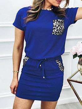 Leopard Pocket Short Sleeve Two Piece Skirt Set