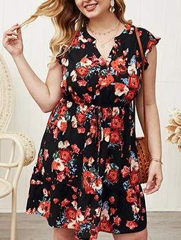 V Neck Printed Female Plus Size Dresses