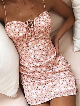 Casual Printed Spaghetti Strap Short Sleeveless Dress