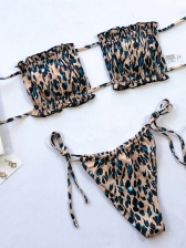 Draped Solid Color Bandeau Bikini Women