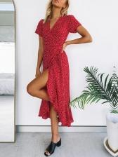 Red Printed Irregular Hem Chiffon Holiday Maxi Dress