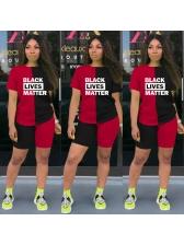 Front Letter Contrast Color Female Casual Tracksuit Set