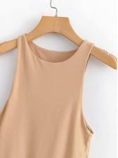 Minimalist Style Crew Neck Sleeveless Bodysuit