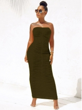 Candy Color Ruched Strapless Maxi Dress