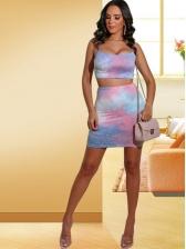 Spaghetti Strap Tie Dye Crop Top And Skirt Set