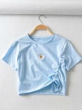 Daisy Printed Drawstring Cropped t Shirt