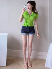 Fitted Solid Button Up t Shirts For Women