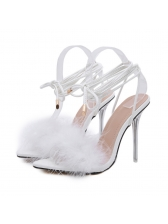 Pointed Toe Faux Fur Patchwork Cute Sandals