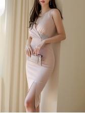 V Neck Rhinestone Decor Slit Ladies Dress