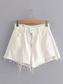 Multiple Pockets Plain White Women Denim Shorts