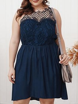 Elegant Patchwork a Line Plus Size Dresses