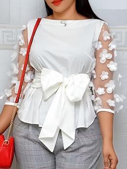 Stereo Flower Wrap Long Sleeve Blouse