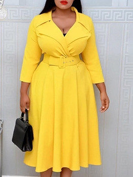 OL Style Solid Plus Size Long Sleeve Dress