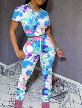 Multicolored Tie Dye Crop Top And Skinny Stacked Pants