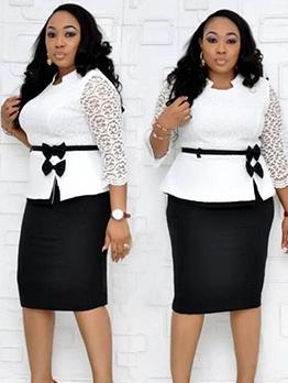 Lace Patchwork Long Sleeve Plus Size Dresses