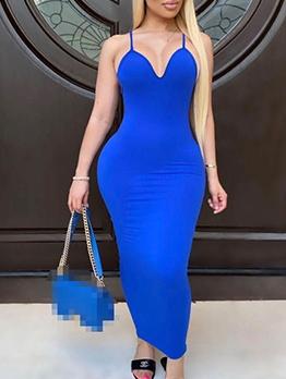 Plain Solid Color V Neck Spaghetti Strap Maxi Dress
