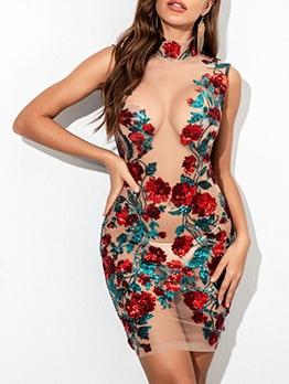 Seductive Gauze Patchwork Sequins Sleeveless Dress