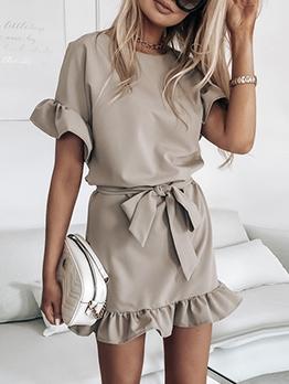 Ruffled Hem Solid Short Sleeve Dress