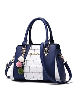 OL Style Stitching Color Plush Ball Pendant Ladies Handbags