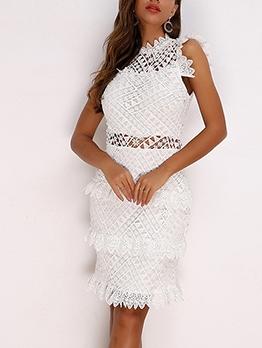Chic Embroidery White Sleeveless Dress