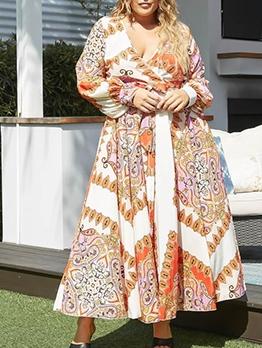 V Neck Long Sleeve Pattern Swing Dresses