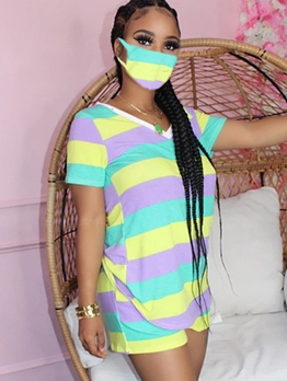 Tie Dye Striped Without Mask 2 Piece Outfits