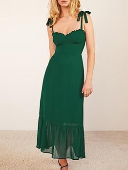 Vintage Ruffled Solid Maxi Dresses