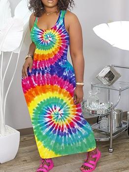 Tie Dye U Neck Sleeveless Maxi Dress