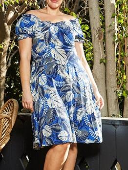 Leaf Print Off The Shoulder Short Sleeve Dresses
