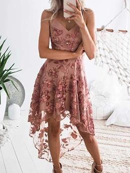 High Low Hem Flower Embroidered Pink Slip Dress