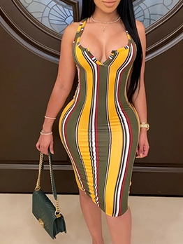 Sexy Deep V Neck Colorful Striped Bodycon Dress