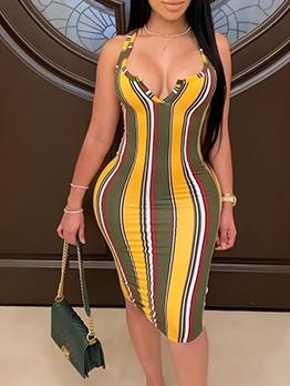 Sexy Deep V Neck Colorful Striped Bodycon Dress