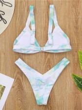 Sexy Deep V Neck Tie Dye Bikini Sets