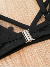 Sexy Gauze Patch Spaghetti Strap Black Swimsuit
