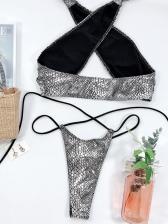 Cross Belt Tie Wrap Two Piece Snake Print Bikini