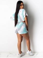 Smart Waist Tie Dye Short Sleeve Shorts Set