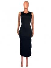 Plain Solid Color Side Split Sleeveless Midi Dress