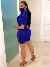 O Neck Short Sleeve Tracksuit Set For Women Without Mask