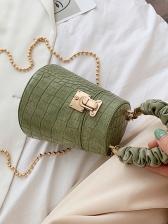 Cylindrical Crocodile Print Beaded Strap Crossbody Bags