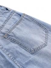 Light Blue Hole Straight Leg Jeans For Women
