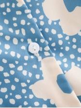 Sweet Printed Single-Breasted Short Sleeve Dress