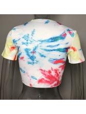 Summer Short Sleeve Tie Dye Cropped T Shirt