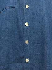 Simple Short Sleeve Long Denim Blouse