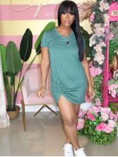 V Neck Solid Twist Short Sleeve Dress